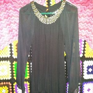 Willi Smith Women's Black Shear Sleeves Size M EUC